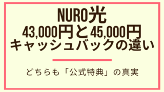 NURO光 43,000円と45,000円 キャッシュバックの違い