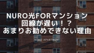 NURO光forマンション 回線が遅い!? あまりお勧めできない理由